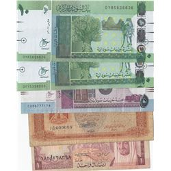 "Mix Lot; Total  5 ""ARABIAN COUNTRIES"" banknotesbr/Saudi Arabia, 1 Riyal, 1977, vf; Libya, 1/4 Dinar,"