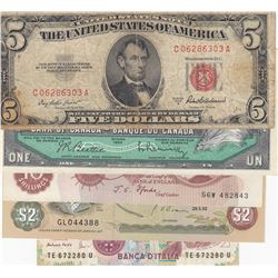 Mix Lot, Total 5 banknotes of different countries in different conditionbr/United States of America,