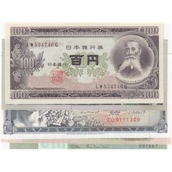 Mix Lot, 5 different banknotes.br/Japan, 100 Yen, 1953, UNC; Bolivia 1000 Bolivianos, 1982, UNC; Bra