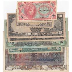 Mix Lot, 10 different banknotes.br/Malaya, 5 Cents, 1942, XF; Malaya, 10 Cents, 1942, XF; Iraq 25 Di