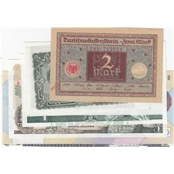 Mix Lot, Total 7 UNC banknotesbr/Scotland, 1 Pound, 2001; Colombia, 5 Pesos, 1980; Bulgaria, 5 Leva,