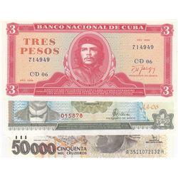 Mix Lot, 3 banknotes in whole UNC conditionbr/Cuba 1 Peso, Cuba 3 Pesos, Brasil 50000 Cruzeiros