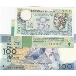 Mix Lot, 3 banknotes in whole UNC conditionbr/Italy 500 Lire, Germany 5 Mark, Portugal 100 Escudos
