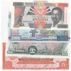 Mix Lot, 4 banknotes in whole UNC conditionbr/Tanzania 200 Shillings, Haiti 5 Gourdes, Uganda 100 Sh