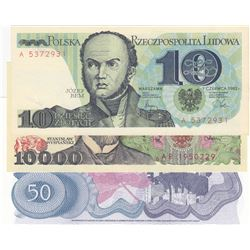 Mix Lot, 3 banknotes in whole UNC conditionbr/Poland 10 Zlotych, Poland 10000 Zlotych, Yugoslavia 50