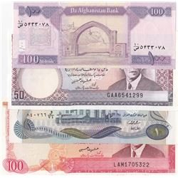 Mix Lot, 4 banknotes in whole UNC conditionbr/Iraq 1 Dinar, Afghanistan 100 Afganis, Pakistan 50 Rup