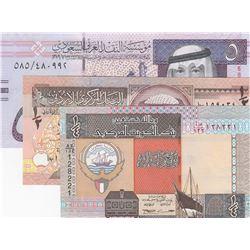Mix Lot, 3 banknotes in whole UNC conditionbr/Jordan Half Dinar, Kuwait Quarter Dinar, Suudi Arabian