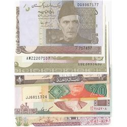 Mix Lot, 8 banknotes in whole UNC conditionbr/Pakistan 5 Rupees (2), Pakistan 10 Rupees (2), Pakista