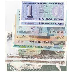 Mix Lot, 9 banknotes in whole UNC conditionbr/Venezuela 1 Bolivar (2), Venezuela 20 Bolivares, 100 B