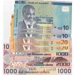 Mix Lot, 8 banknotes in whole UNC conditionbr/Sierre Leone 1000 Leones (2), Sierre Leone 2000 Leones