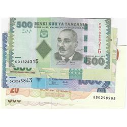 Mix Lot, 7 banknotes in whole UNC conditionbr/Tanzania 500 Shillings (2), Tanzania 1000 Shillings (2