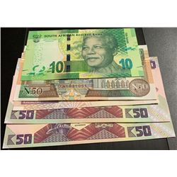 Mix Lot, 5 banknotes in whole UNC conditionbr/Soomaaliya 50 Shillings, South African 10 Rand, Zambia