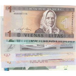 Mix Lot, 6 banknotes in whole UNC conditionbr/Lithuania 1 Lita, Lithuania 2 litas, Estonia 2 Krooni,