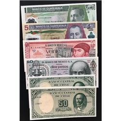 Mix Lot, 6 banknotes in whole UNC conditionbr/Chile 50 Pesos (2), Mexico 10 Pesos, Mexico 20 Pesos,