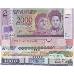 Mix Lot, 5 banknotes in whole UNC conditionbr/Paraguay 2000 Guaranies, Paraguay 5000 Guaranies, Hond
