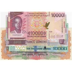 Mix Lot, 5 banknotes in whole UNC conditionbr/Guinea 10000 Francs (2), Sao Tome and Principe 10000 D