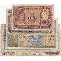 Mix Lot, 5 banknotes in whole Different conditionbr/Italy 100 Lire, Belgium 10 Francs, Scotland 5 Po