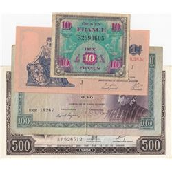 Mix Lot, 4 banknotes in whole Different conditionbr/France 10 Francs, Argentina 1 Peso, Portugal 100