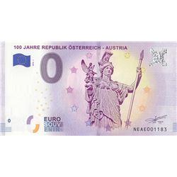 Fantasy banknotes, 0 Euro, 2018, UNC, 100 Jahre Republik Österreich- Austriabr/