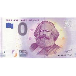 Fantasy banknotes, 0 Euro, 2018, UNC, Karl Marxbr/Karl Marx commemorative fantasy banknot