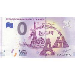 Fantasy banknotes, 0 Euro, 2018, UNC, Exposition Universelle De Parisbr/