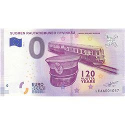 Fantasy banknotes, 0 Euro, 2018, UNC,  Suomen Rautatiemuseo Hyvinkaabr/Finnish Railway Museum