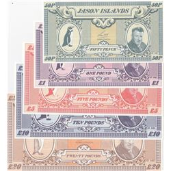 Jason Islands, 50 Pence, 1 Pound, 5 Pounds, 10 Pounds and 20 Pounds, 1979, UNC, (Total 5 banknotes)b