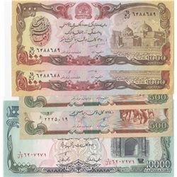 Afghanistan, 500 Afghanis (2), 1.000 Afghanis (2) and 10.000 Afghanis, 1990/1993, UNC, (Total 5 bank