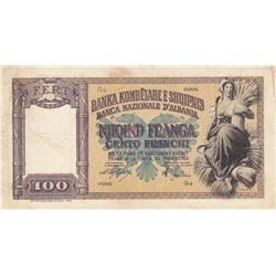 Albania, 100 Franga, 1945, VF, p14br/serial number: G6 0006