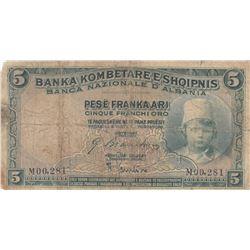 Albania, 5 Franka Ari, 1926, POOR, p2br/serial number: M00.281