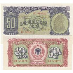 Albania, 10 Leke and 50 Leke, 1957, UNC, p27, p28, (Total 2 banknotes)br/serial numbers: CB 588670 a