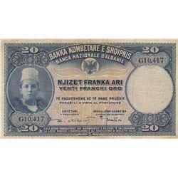 Albania, 20 Franka Ari, 1926, VF, p3br/serial number: G10.417