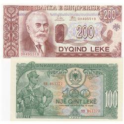 Albania, 100 Leke and 200 Leke, 1957/1992, UNC, p30, p52, (Total 2 banknotes)br/serial numbers: 0613