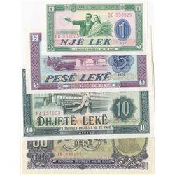Albania Lek, 5 Leke, 10 Leke and 50 Leke, 1944/1976, UNC, p40, p42, p43, p25, (Total 4 banknotes)br/