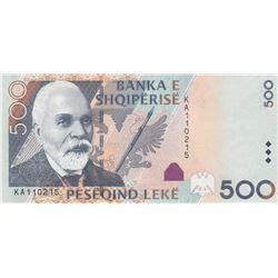 Albania, 500 Leke, 2016, UNC, p68br/serial number: KA 110215