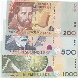 Albania, 200 Leke, 500 Leke and 1.000 Leke, 2011/2015, UNC, p71, p72, p73b, (Total 3 banknotes)br/se