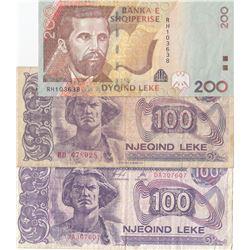 Albania, 100 Leke (2) and 200 Leke, 1994/2012, VF, (Total 3 banknotes)br/