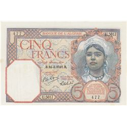 Algeria, 5 Francs, 1941, AUNC, p77br/serial number: U.5017/477