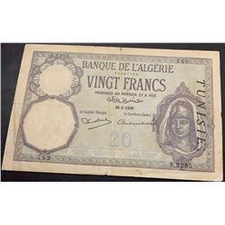 Algeria, 20 Francs, 1939, FINE, p78cbr/serial number: 769/8.3295