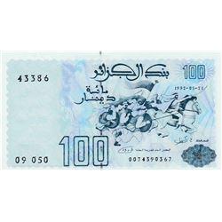 Algeria, 100 Dinars, 1992, UNC, p137br/serial number: 0074390367