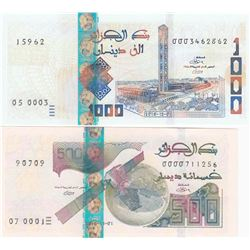 Algeria, 500 Dinars and 1.000 Dinars, 2018, UNC, pNew, (Total 2 banknotes)br/serial numbers: 0000711