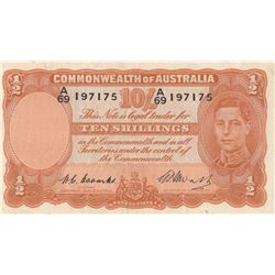Australia, 10 Shillings, 1949, XF, p25cbr/King George VI portrait, serial number: A/69 197175