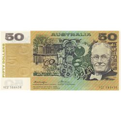 Australia, 50 Dollars, 1975, UNC, p47bbr/serial number: YCZ 588430, signs: Knight and Wheeler