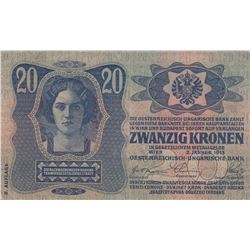 Austria, 20 Kronen, 1913, VF, p13br/Austria- Hungarian Bank, serial number: 836047/1061