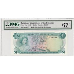 "Bahamas, 1 Dollar, 1965, UNC, p18a, ""High Condition""br/PMG 67 EPQ, Queen Elizabeth II portrait, seri"