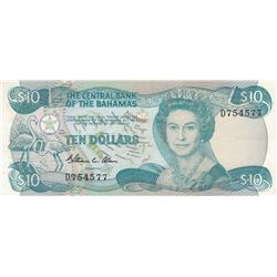 Bahamas, 10 Dollars, 1984, XF, p46abr/Queen Elizabeth II portrait, serial number: D754577, sign: Wil
