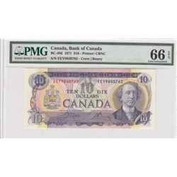 Canada, 10 Dollars, 1971, UNC, p88dbr/PMG 66 EPQ, serial number: EEY 9840762