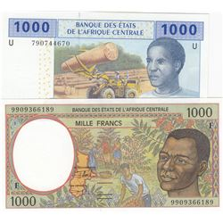 Central African States,  Cameroun, 1.000 Francs (2), 2000 /2002, UNC, p202Eg, p207Ub, (Total 2 bankn