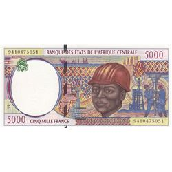 Central African States,  Cameroun, 5.000 Francs, 1994, UNC, p204Eabr/serial number: 9410475501