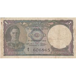 Ceylon, 1 Rupee, 1941, FINE, p30br/serial number: a/1 606865